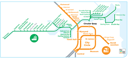 map of Sydney Ferries and trains to Chatswood