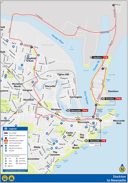 map of Newcastle Stockton Ferry